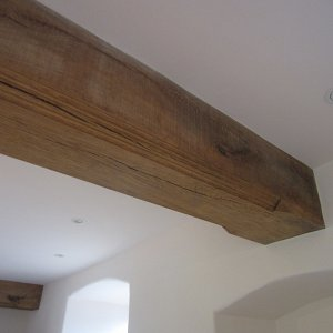 Hand carved beam in-situ