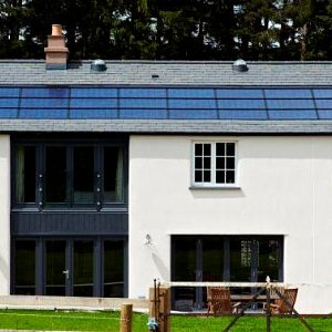 Lime Render and integrated roof photovoltaics (PV)